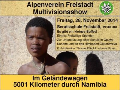 Alpenverein Freistadt - 5001 Kilometer durch Namibia - Plakat