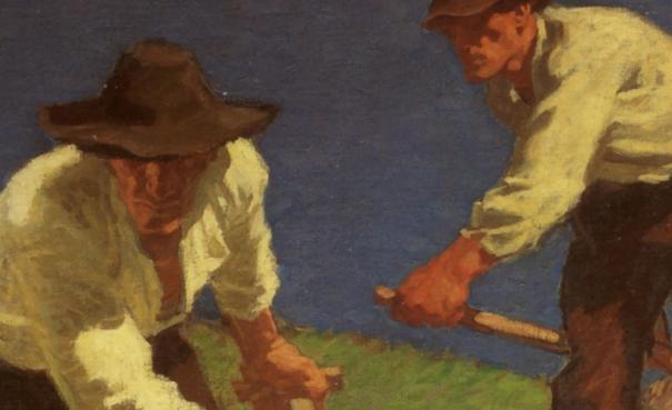 Die Bergmäher des Osstiroler Malers Albin Egger-Lienz (1. Fassung, 1907, Öl auf Leinwand, 94,3 × 149,7 cm)