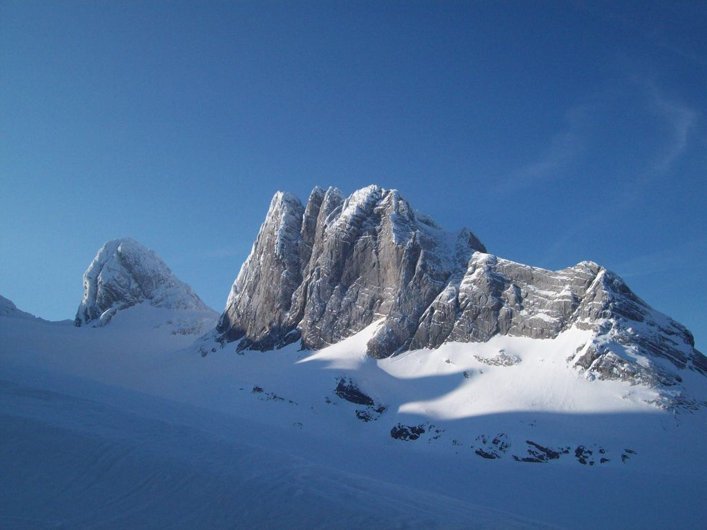 Blick von der Adamekhütte auf die Schneebergwand (2.803 m)