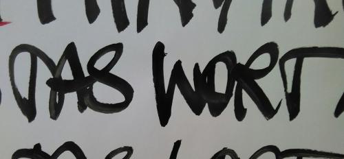 Das Wort (Margit Pfluegl, Ausstellung in der Pfarre Wels - St. Franziskus 2016)