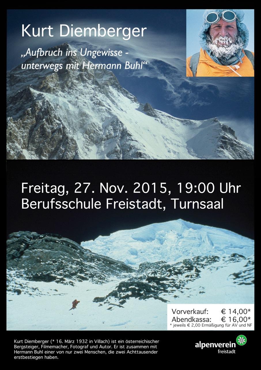 Plakat zum Vortrag von Kurt Diemberger am 27.11.2015