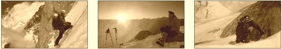 (1) 2007 Gerlinde im Aufstieg am Broad Peak © R. Dujmovits www.amical.de & (2) 2008 Dhaulagiri Gerlinde in Lager II © D. Göttler & (3) 2008 Dhaulagiri I Gerlinde kurz unterhalb des Gipfels © D. Göttler