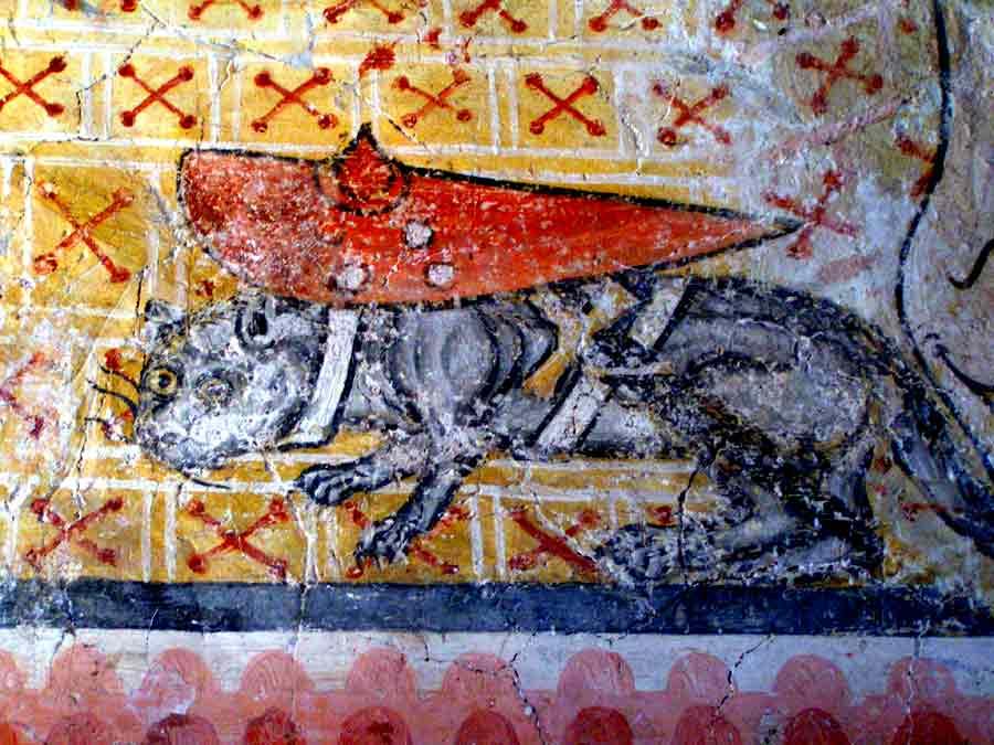 Katzen und Mäuse-Krieg - Fresken in Pürgg
