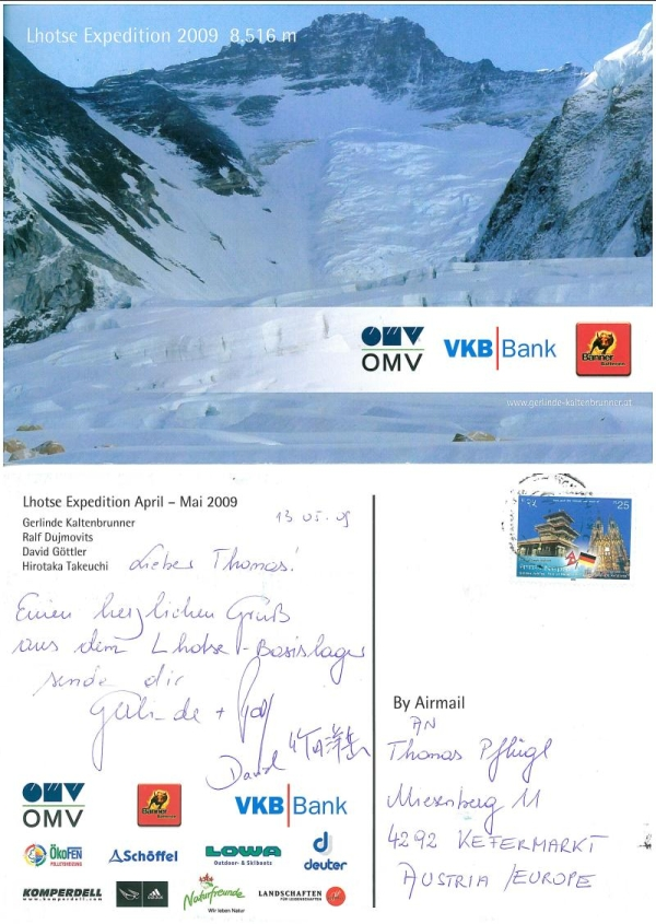 Postkarte von Gerlinde Kaltenbrunner (Lhotse Expedition 2009)