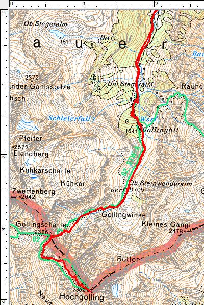 Routenverlauf Gollinghütte-Hochgolling - Foto: http://www.alpenyeti.at