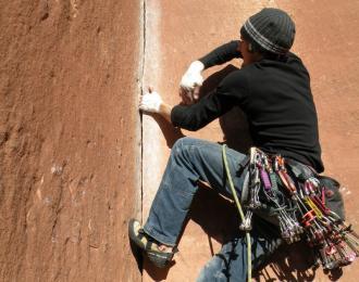Stefan Brunner beim Klettern in Utah