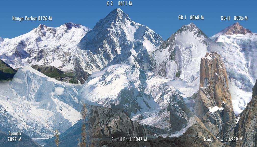 Himalaya panorama mit nanga parbat k 2 gasherbrum i gasherbrum ii