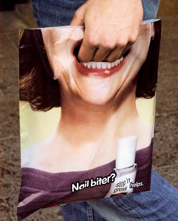 Bagvertising Unlimited - Werbung gegen Nagelbeißen