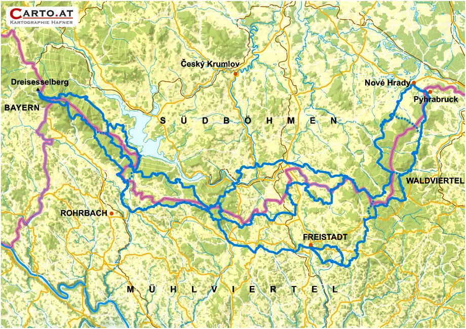 Übersichtskarte Nordwaldkammweg
